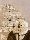 Ancient Carvings And Statue In The Medinet Habu Temple - Egypt