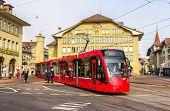 Bern, Switzerland - February 15: Siemens Combino Tram On Casinoplatz In Bern On February 15, 2015. T