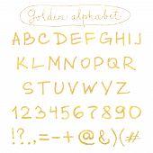 Handwritten gold alphabet