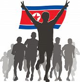 Athlete with the North Korea flag at the finish