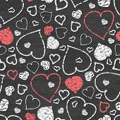 Chalkboard art hearts seamless pattern background