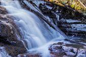 Frozen log in a waterfall