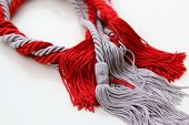 picture of tassels  - grey and red ropes with tassel isolated on white - JPG