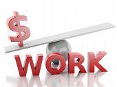 3d money on a balance. Success at Work.