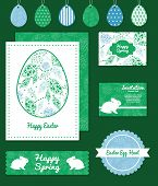 Vector abstract blue and green leaves set of Easter cards, labels, tags and banners templates