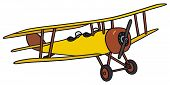 stock photo of biplane  - Hand drawing of a vintage yellow biplane  - JPG