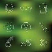 Happy St. Patrick's Day vector line Icons on blured background. Traditional irish symbols 2