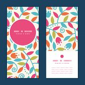 Vector colorful branches vertical round frame pattern invitation greeting cards set