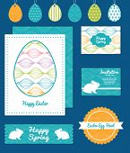 Vector colorful horizontal ogee set of Easter cards, labels, tags and banners templates