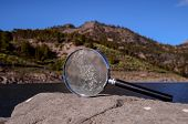 Magnify Glass Loupe on the Volcanic Rock