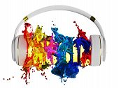 explosion of glossy color paint from the headphones. blasted word music. each color is assigned path