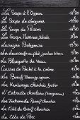 French Menu On Blackboard
