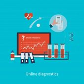 Flat design modern vector illustration concept for health care and online diagnosis.