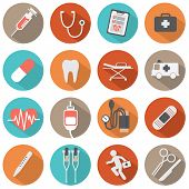Flat Design Medical Icons.