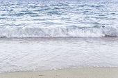 Soft Sea Ocean Waves Wash Over Golden Sand Background