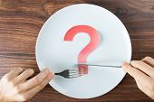 Hand Holding Cutlery With A Question Mark On Plate