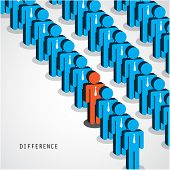 Businessman Standing Out From The Crowd. Business Idea And Difference Concept