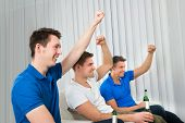 Men Holding Beer Bottles Cheering