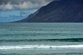foto of canary-islands  - surfing on Famara beach Lanzarote Island Canary Islands Spain - JPG
