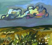 landscape . executed in acrylic on cardboard engineering. Picturesque views of the Ukrainian hills.