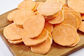 picture of potato chips  - Chopped sweet potatoes ready for preparing homemade chips - JPG