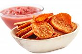 Sweet Potatoes Chips With Tomatoes Sauce