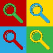 Pop Art Search Simbol Icons.