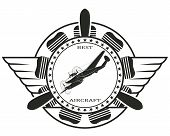 pic of fighter plane  - Vector stamp with the image of the best of the old fighter - JPG
