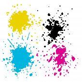 CMYK ink splashes