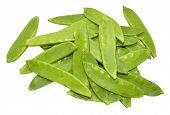 foto of snow peas  - Group of fresh mangetout peas isolated on a white background - JPG