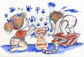 image of baby cat  - Two cute babies are painting - JPG