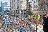 Denmark. Copenhagen. Bikes on High Bridge Square