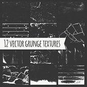 Set Of Different Grunge Textures.