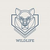 Wolf linear art icons. Vector illustration