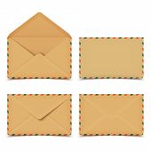 Set Of Four Blank Old Retro Vector Envelopes Isolated On White
