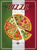 Постер, плакат: Vector poster with pizza and a slice of pizza