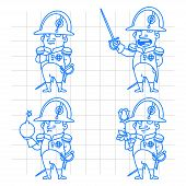 stock photo of bonaparte  - Napoleon Bonaparte character in various poses doodle - JPG
