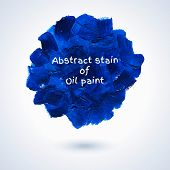 Round Stain Of Blue Oil Paint.