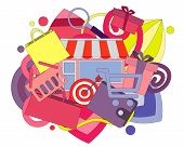 Concept shopping. Abstract background with flat icons. Vector illustration