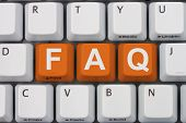 picture of faq  - Getting the FAQs online A gray computer keyboard with the word FAQ in orange letters - JPG