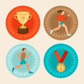 Vector Achievement Badges In Flat Style