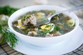 picture of sorrel  - sorrel soup with meatballs and eggs in a bowl - JPG
