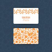 Business Cards Templates Orange Floral Design