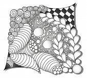 Abstract monochrome zentangle ornamen