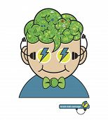 Children Think With Education Icons, Education Thinking Concept, Vector