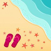 Sea beach. Flip-flops and starfish shells on the beach. Vector illustration. Vacation travel concept