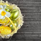Easter Eggs In Yellow Basket, Flowers
