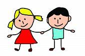Kids drawing -  friends