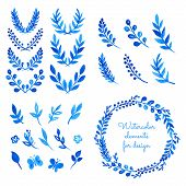 Set Of Watercolor Wreaths, Laurels, Branches, Leaves.