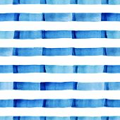 Watercolor Modern Pattern With Blue Strips.
